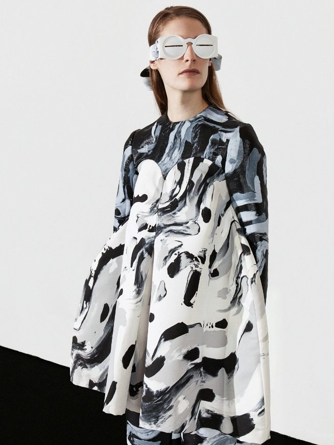 Painterly Print Dress with arty brushstroke pattern - bold printed fashion; wearable art // Satu Maaranen SS15