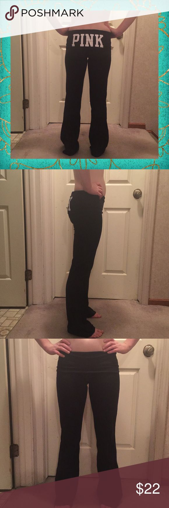 PINK YOGA PANTS No defects. Worn 2-3 times. Super cute. No holes or stains. NO TRADES OR HOLDS! Price is firm unless bundled. Size small, flare PINK Victoria's Secret Pants