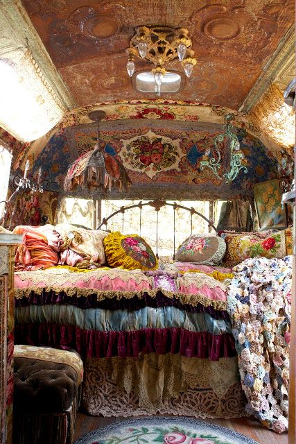 """Sometimes I wish I lived in an Airstream...homemade curtains...live just like a gypsy"""