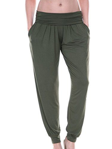 White Mark Womens Harem Pants Loose Comfort Fit XLarge Olive Green -- Read more  at the image link.