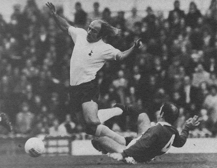 23rd November 1974. Birmingham City 's Howard Kendall making a rash tackle on Tottenham Hotspur winger Ralph Coates, at White Hart Lane.