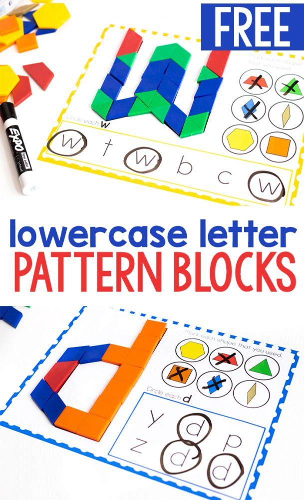 Free Printable Lowercase Alphabet Pattern Block Mats