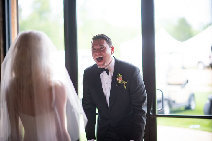 Rob was at a loss for words when he first saw his beautiful bride Catherine! You don't need us to tell you that, just look at the photo! Catherine and Rob's wedding held at his family estate in Harwood, Maryland.