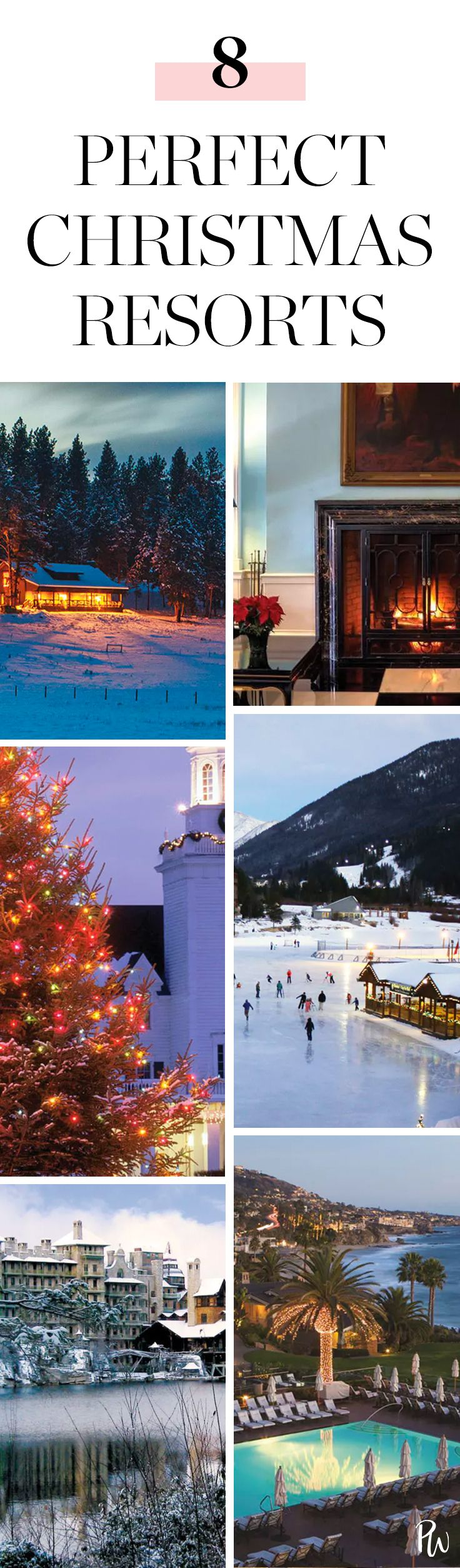 Why not get out of town to one of these sophisticated resorts that know how to do holiday cheer? Discover these 8 amazing Christmas resorts here. #christmasresorts #christmastravel #holidaytravel #christmasvacation