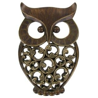 We can't get enough of owls, and we especially love this antique gold owl wall decor!