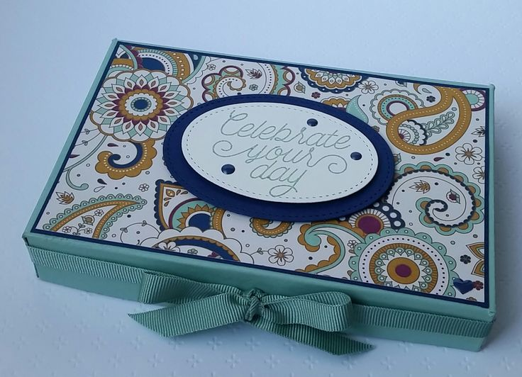 Stampin' Up! Demonstrator stampwithpeg – Gift box using Petals & Paisleys and Stitched Shapes Framelits Dies, with Instructions. Loving this nice big gift box, I wanted to see how big a box I c…