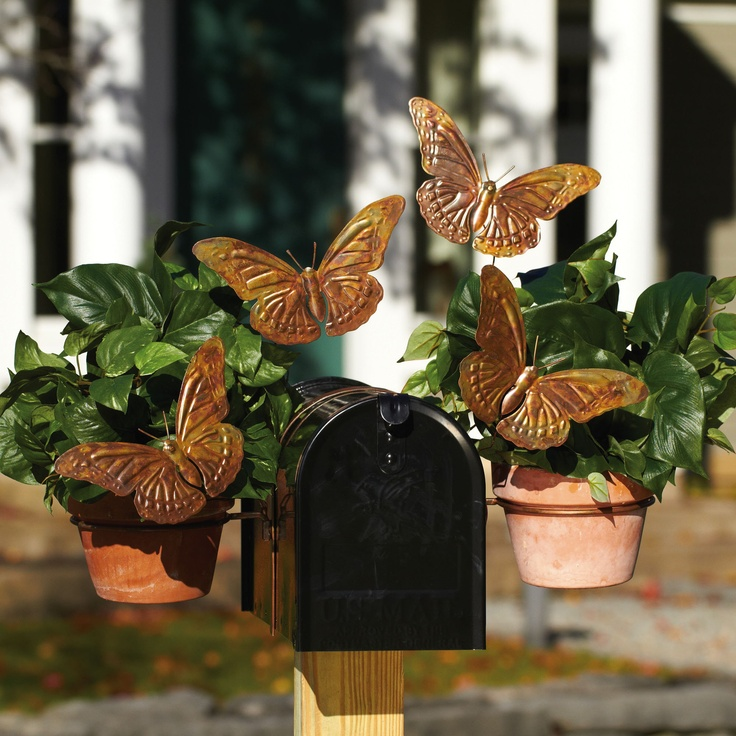 Butterfly Planter Metal Mailbox Topper Accent