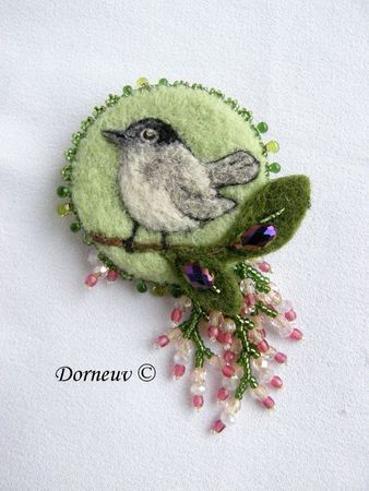 Felt and bead brooch