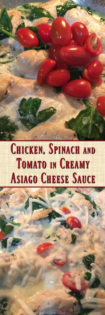 Chicken, Spinach and Tomato in Creamy Asiago Cheese Sauce A quick and so delicious chicken dish in a creamy asiago cream sauce. Keto, low carb friendly! This is a favorite weeknight dish! #chicken #cheesy #easy #onepan