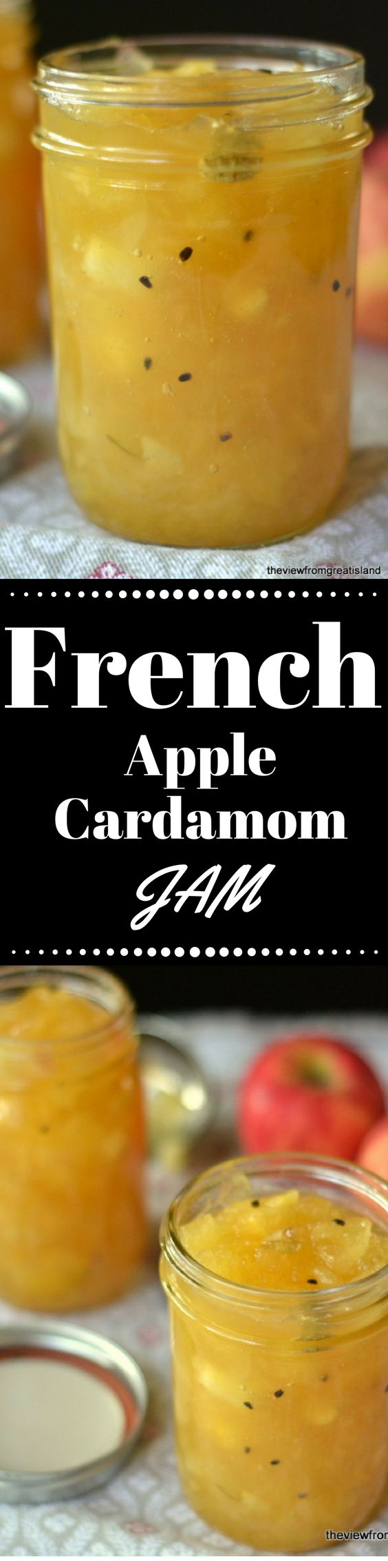 This easy French Apple Jam is a gorgeous fall preserve with a bright golden color, a chunky texture, and a fresh apple flavor with a hint of spice! ~ theviewfromgreatisland.com