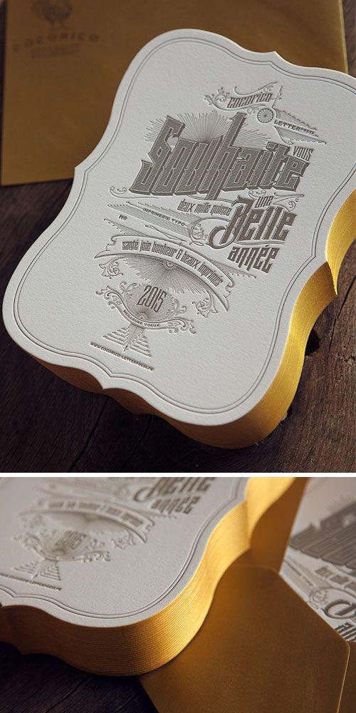 Cartes de voeux Cocorico Letterpress avec couleur sur tranche or et découpe emporte-pièce / edge-painting and die cuting for our Happy New Year letterpress cards