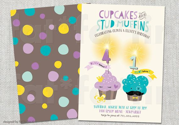 Cupcake & Stud Muffin Sparklers Kids Joint Birthday Party Invitation | Custom Whimsical Cute Girl Boy Children Invite PRINTED / PRINTABLE by fatfatin