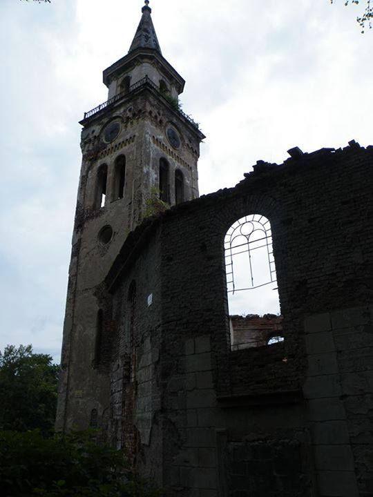 Ruins of evangelical church in Unisław Śląski, Poland