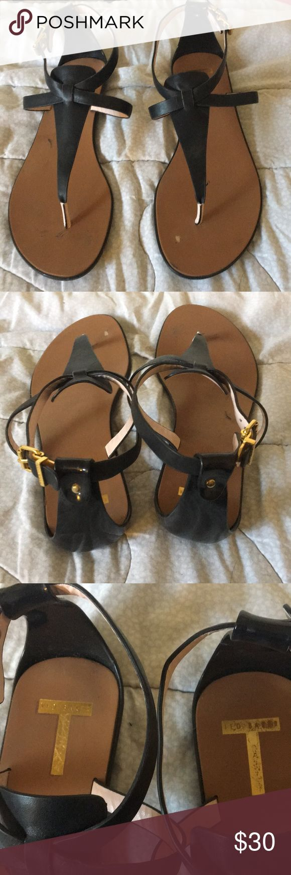 Ted Baker Leather Sandals Good condition! A couple of marks on them as shown above, but won't be noticeable when they are on. Real leather. Gold hardware. Ted Baker Shoes Sandals