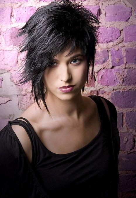 medium black straight spikey choppy Layered Rock-Chick Womens haircut hairstyles for women
