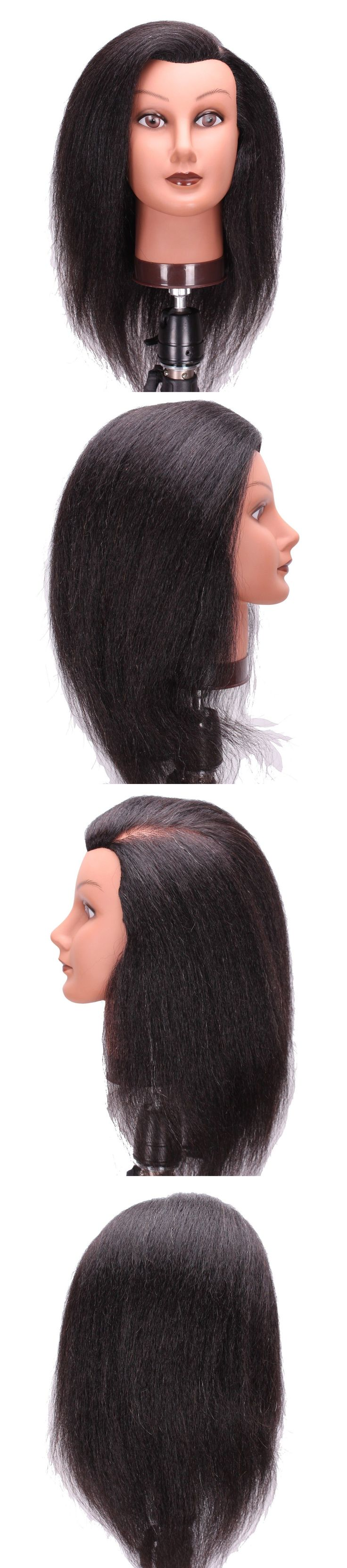 Other Salon and Spa Equipment: Lians 14-15 Yak Hair Cosmetology Mannequin Manikin Head Black Color BUY IT NOW ONLY: $31.99