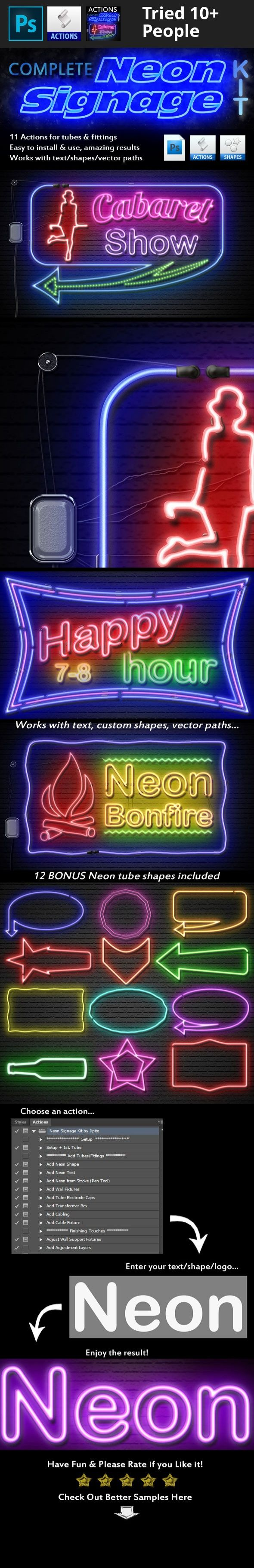 3d, action, add on, bright, bulb, casino, clean, creator, depth, distort, easy, effect, electric, glow, glowing, lamp, light, lighted, lit, logo, marquee, neon, shadow, shape, shine, sign, signage, text, vector, vintage Create a complete Neon Sign using as many shapes and/texts as you need. You can add cables, a transformer & wall fittings, as well as neon tubes created from text, shapes or strokes. You also have complete control over the neon colours.   Features:  11 actions for creat...