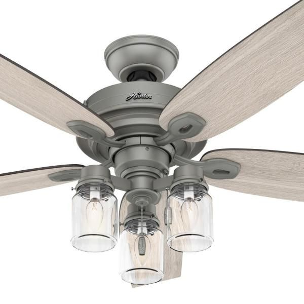 Hunter Crown Canyon 52 In Led Indoor Matte Nickel Ceiling Fan With Light Kit 53403 The Home Depot In 2020 Ceiling Fan With Light Ceiling Fan Fan Light