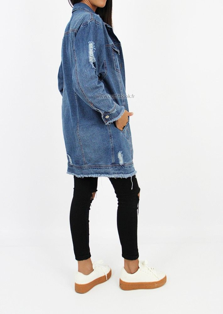 veste longue jean femme déchiré