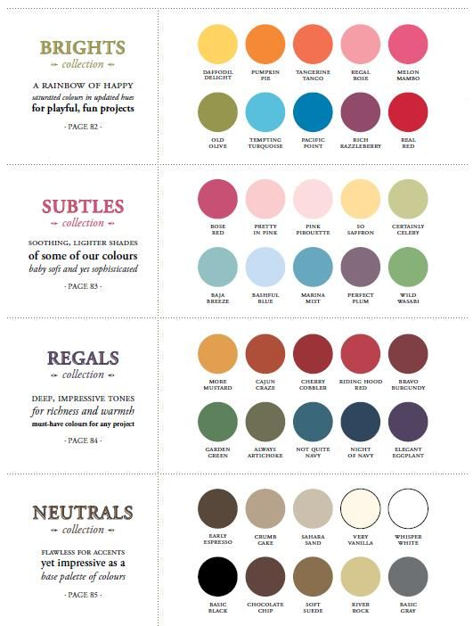 2010 2014 Stampin Up Colors Brights Subtles Regals Neutrals Su