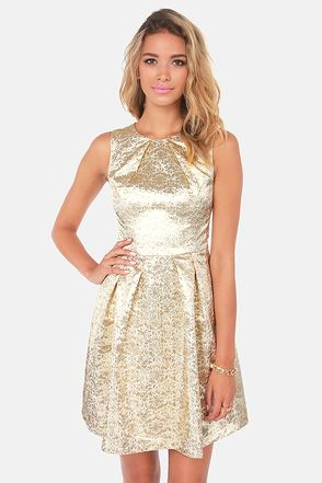 Lulu's: Brocade of Honor Gold Brocade Dress $89 http://www.lulus.com/categories/page7/13/dresses.html