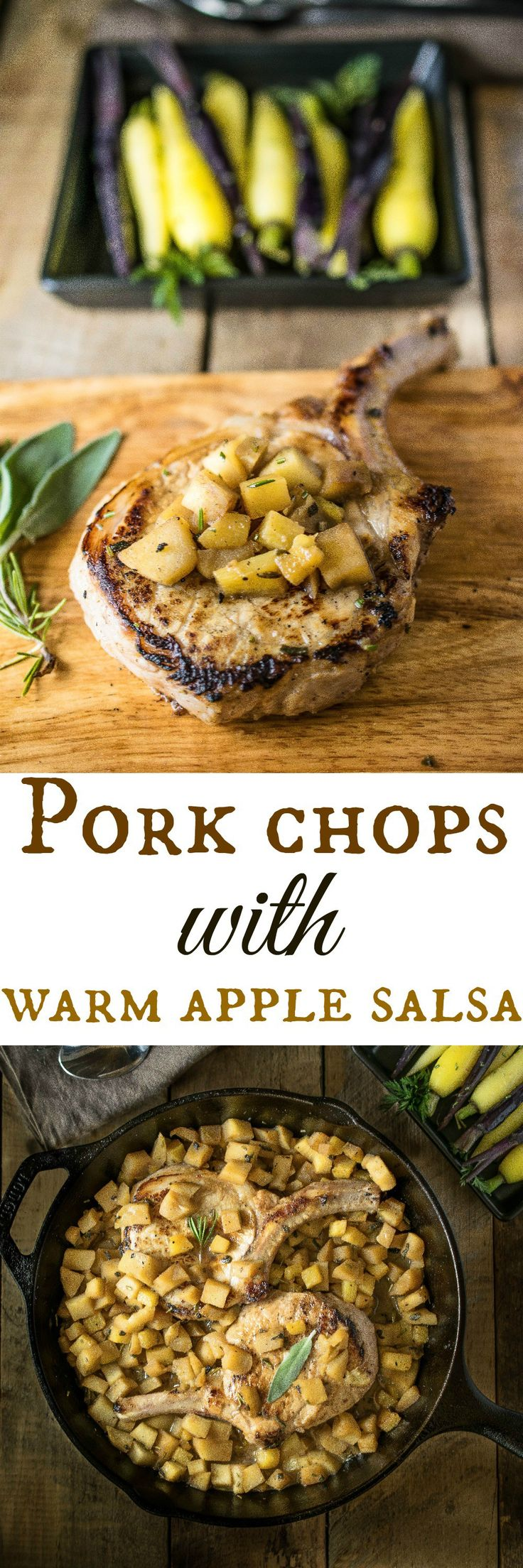 Pork chops with warm apple salsa is an easy one pot dinner perfect for a weeknight, weekend or even dinner party.