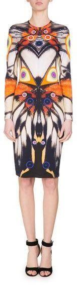 Givenchy Long-Sleeve Butterfly-Print Jersey Dress, Multi