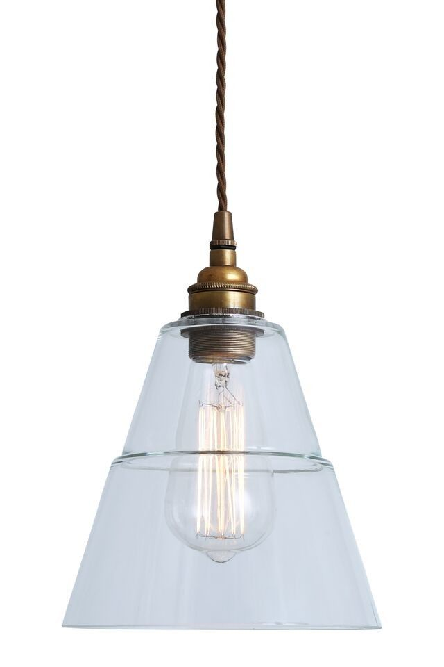 18cm diameter £108. If the size works this is a favourite in glass -- Industrial Glass & Brass Pendant Light - Grace & Glory