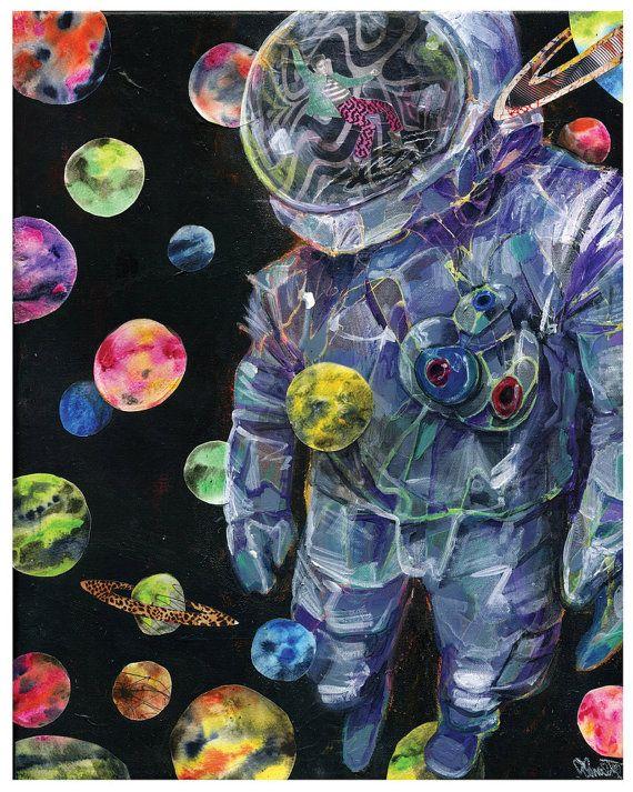 Astronaut Art  Surreal Planet Art Print  Planet by BlackInkArtz, $12.00