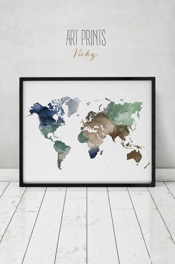 World map watercolor print, Travel Map, Large world map, world map watercolor, map painting, watercolor print, home decor, ART PRINTS VICKY