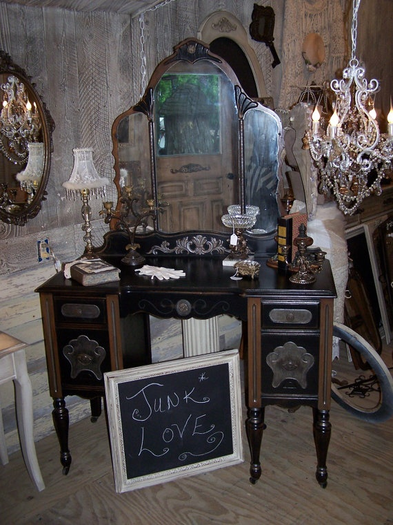 Items similar to NOW SOLD for custom order only Gorgeous and GLAM One of a  Kind. Antique Black Vanity Antique ... - Antique Black Vanity Antique Furniture