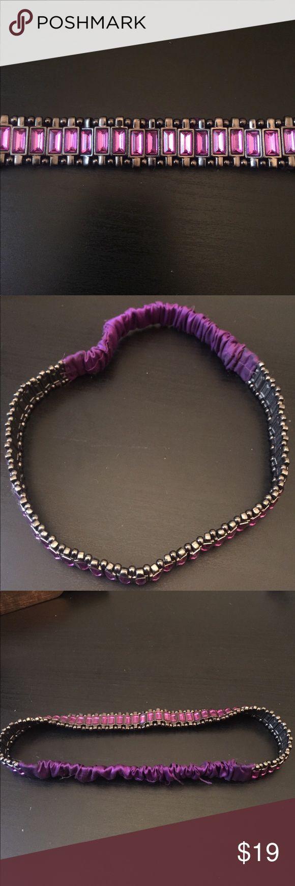 Purple Jeweled Headband Purple jeweled headband. All jewels intact. Tasha Accessories Hair Accessories