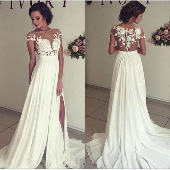 A Line See-through Off the Shoulder Evening Dress,Lace Appliqued Floor length Ivory Party Dress,Chiffon Prom Dress,wedding dress: