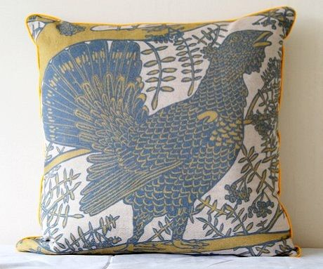 Capercaillie Endangered Animals Cushion by Ursula Hunter - Yellow/Grey