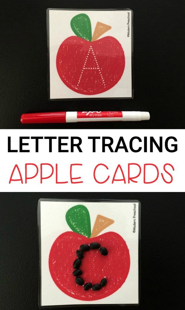 Free tracing letters printable apple cards for preschoolers and kindergarteners…