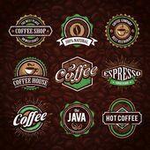 Kahve Amblemler retro tarzı — Stok Vektör