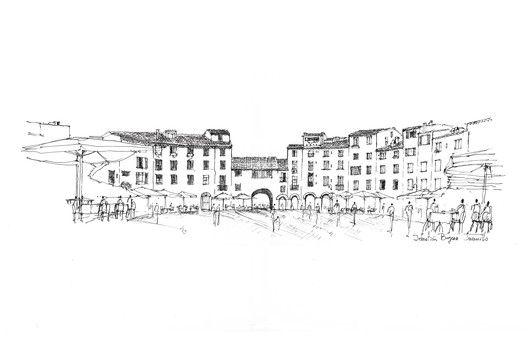 O croqui como método essencial de representação,Piazza dell'Anfiteatro / Lucca. Imagem © Sebastián Bayona Jaramillo