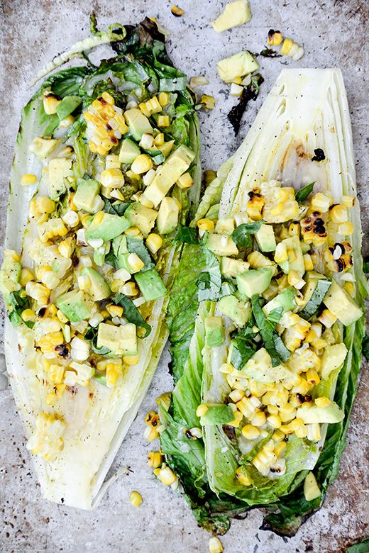 Grilled Romaine, Corn, Avocado, and Basil Salad with Lemon, Maple, Miso, Garlic, and Mirin Vinaigrette #bitesizedeats