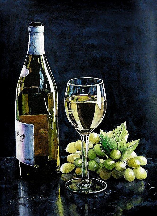 '와인과 포도' (4절 켄트지 / 수채화)