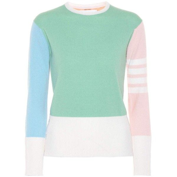 Thom Browne Cashmere Sweater ($1,555) ❤ liked on Polyvore featuring tops, sweaters, multicoloured, multi color sweater, green top, multicolor sweater, green sweater and pure cashmere sweaters