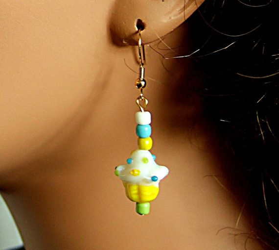 Handmade Yellow & White Lampwork Glass Cupcake Earrings with Green and Blue Accents
