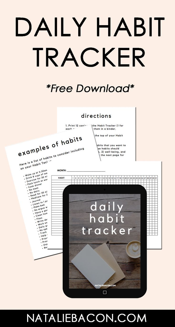 Daily Habit Tracker - free download to track your habits #habits