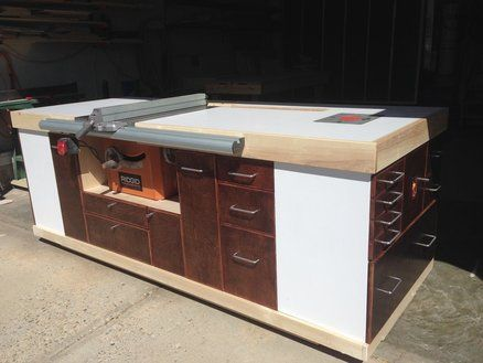 Mobile Table Saw Cabinet Rolling Workbench Pinterest