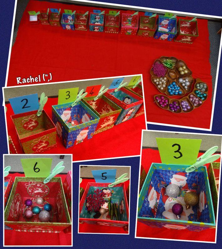 """Baubles & Boxes"" - counting, sorting, numeral recognition (from Rachel, Stimulating Learning)"