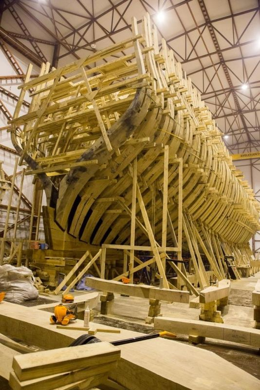 """""""Poltava"""" is a replica of a russian 4th rate 54-gun sailing ship of  the line of 1712, being built in St. Petersburg"""