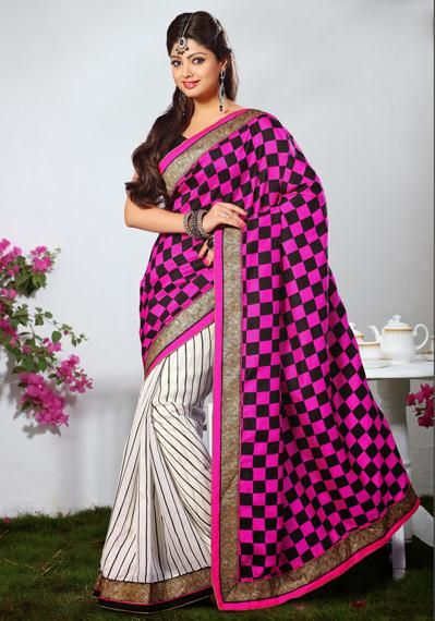 USD 42.63 Pink and White Silk Printed Saree 31897