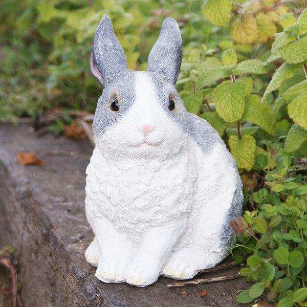 灰色うさぎA (ウサギのミミ) ガーデンオーナメント (置物 オーナメント 庭 かわいい 動物 オブジェ)|niwazakka