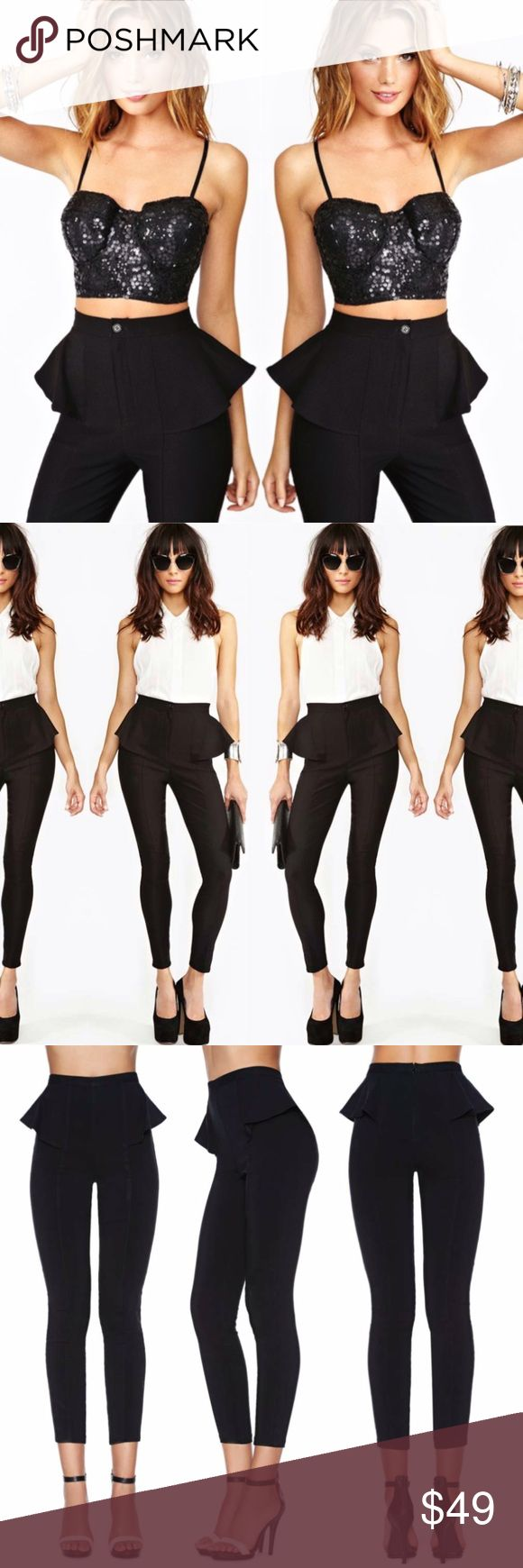 Nasty gal black peplum pants Super stretchy! No trades. Always open to offers. Sold out online! Nasty Gal Pants Skinny
