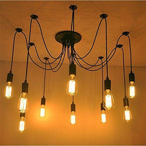 yuewei® Lampadari Edison Industrial Style Vintage Loft lampadario a sospensione Luci fai da te(senza lampadina, 10): Amazon.it: Casa e cucina