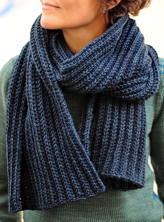 d809d5bb7 Free Knitting Pattern for No Purl Rib Reversible Scarf - Knit with a ...